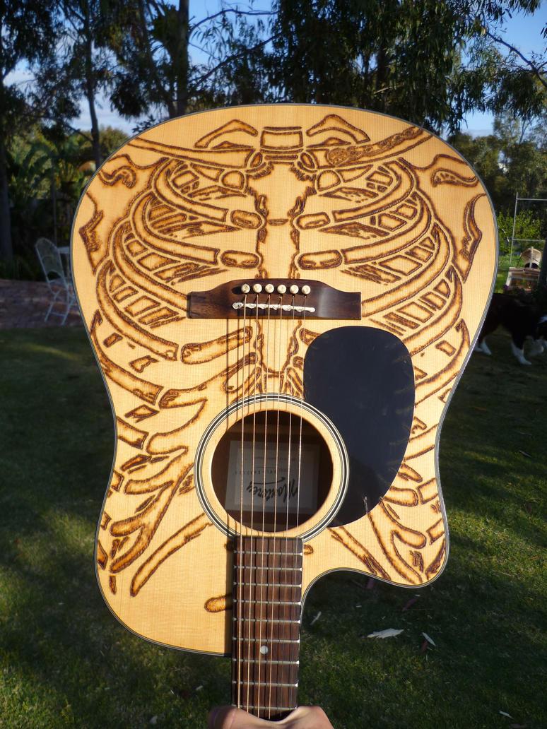 Acoustic Guitar Skeletal Wood Burning By Mental4Metal666