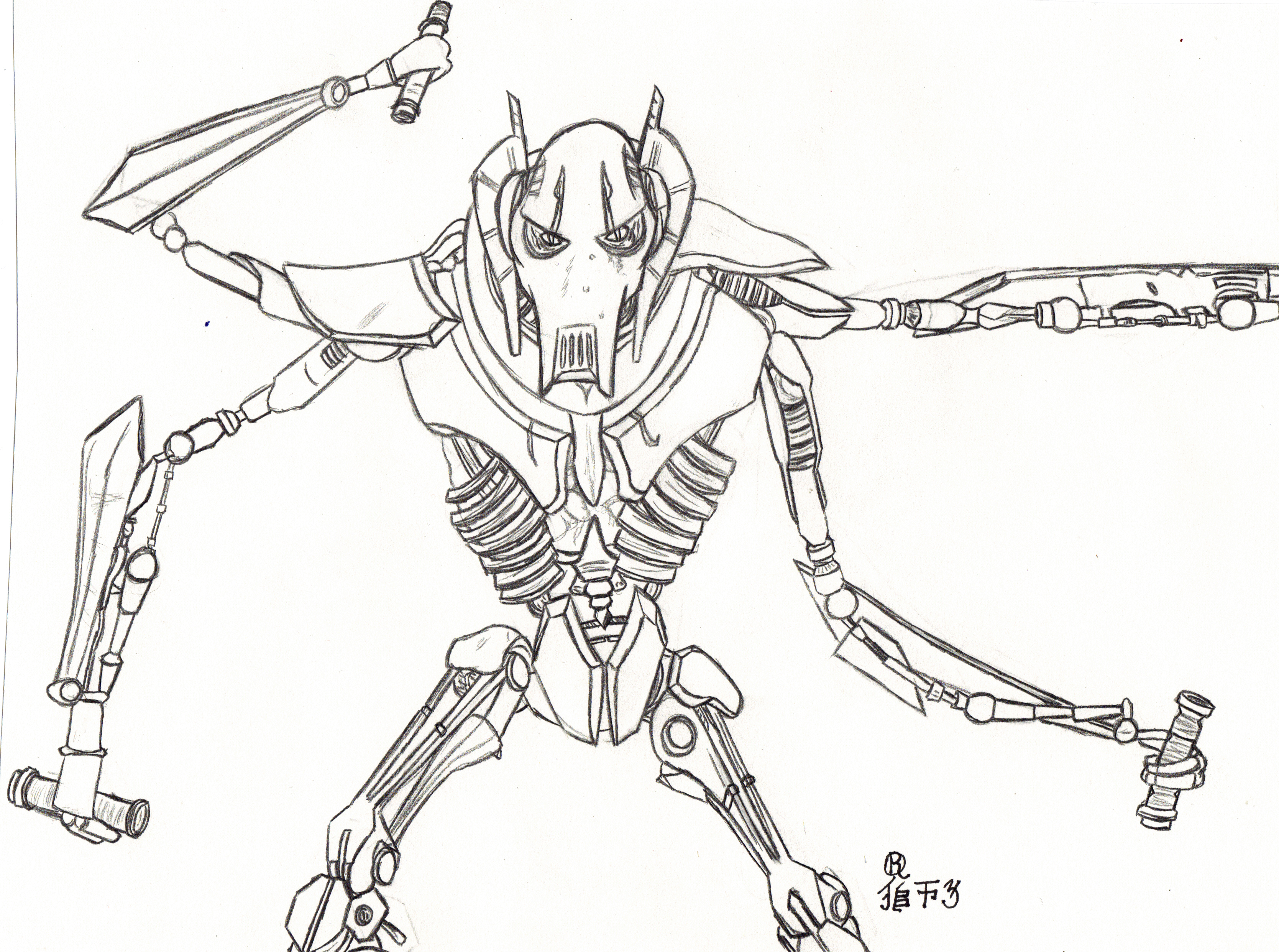 general grievous coloring pages - star wars general grievous by lionofdemise on deviantart