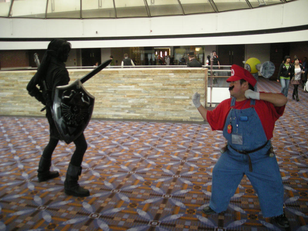 Dark Link vs Mario Cosplay by Lionofdemise