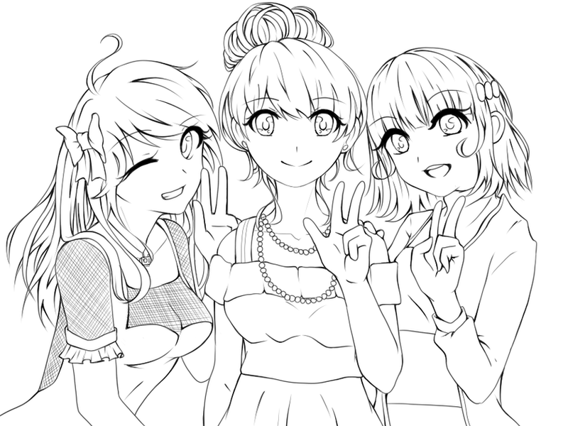 Friends Lineart by jankumiko on DeviantArt