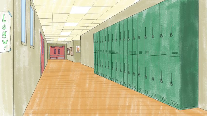 High School Hallway by Moosader