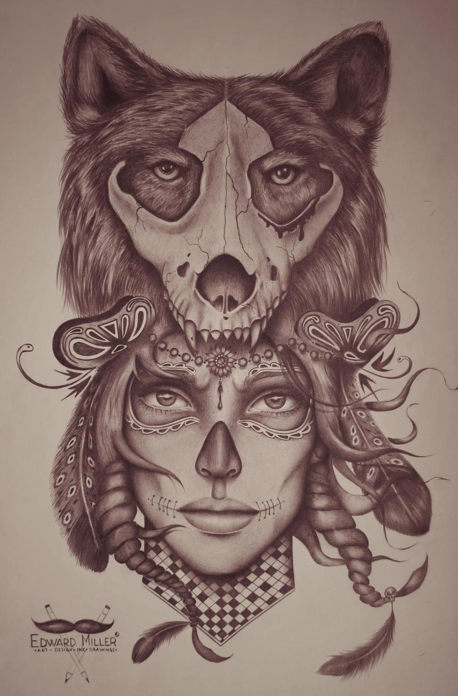 Wolf - skull - head by EdwardMiller