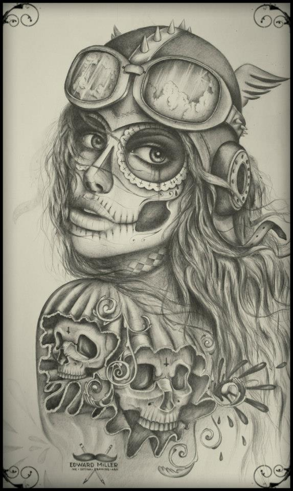 ink design, skulls by EdwardMiller
