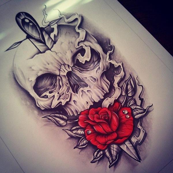 Skull / Rose by EdwardMiller