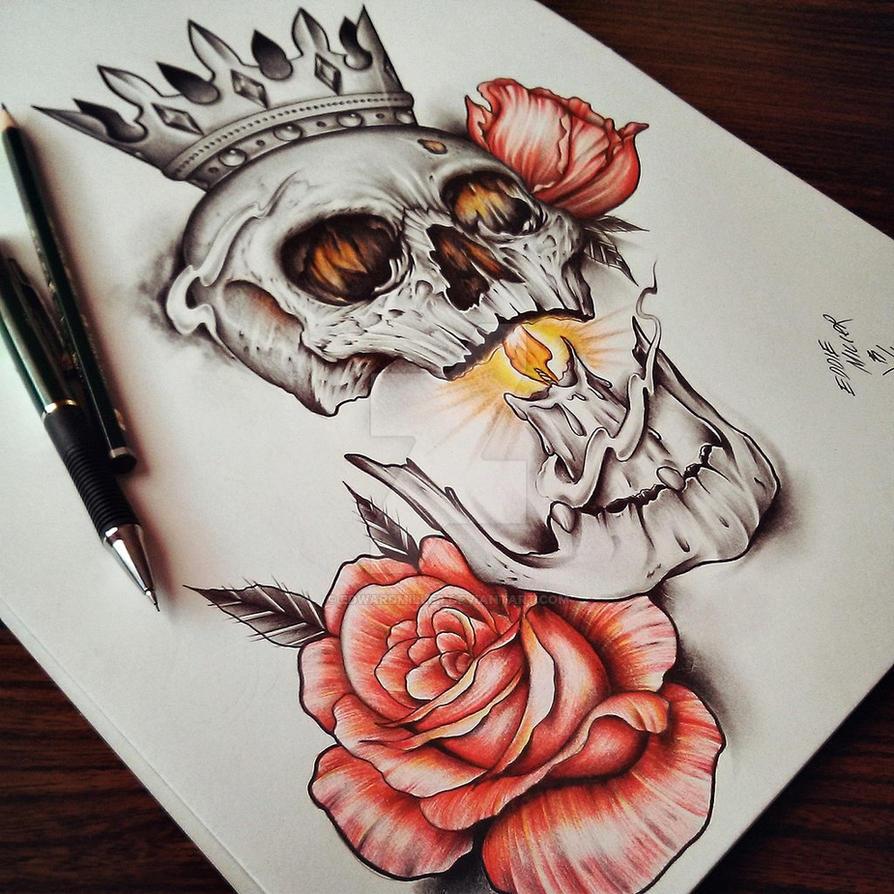 Skull Roses by EdwardMiller on DeviantArt