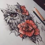 Owl Roses Eye