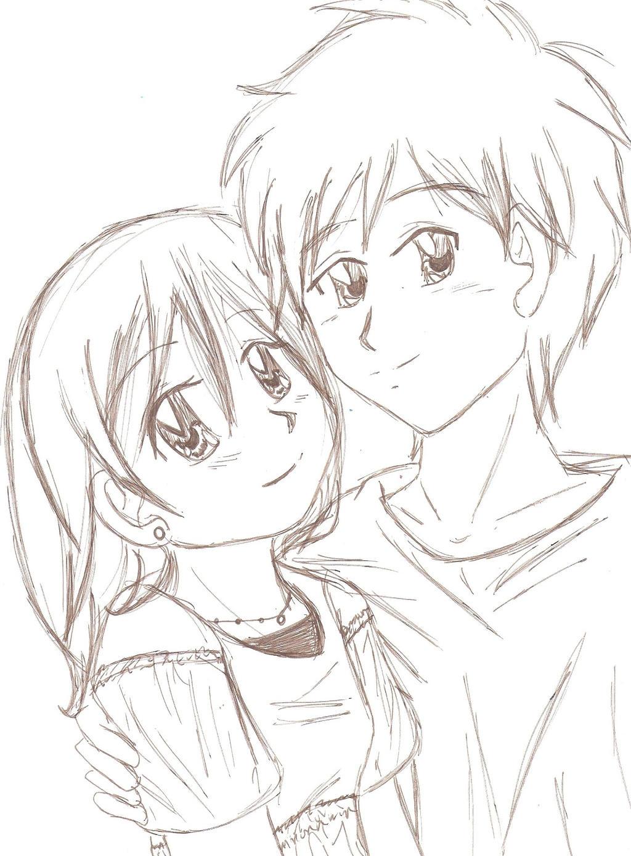Gambar anime couple pensil foto abba
