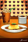 Creme Brulee and Flan Dishes with Milktea Color