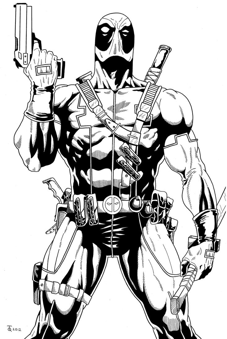 Line Art Marvel : Deadpool close up inked by tyndallsquest on deviantart