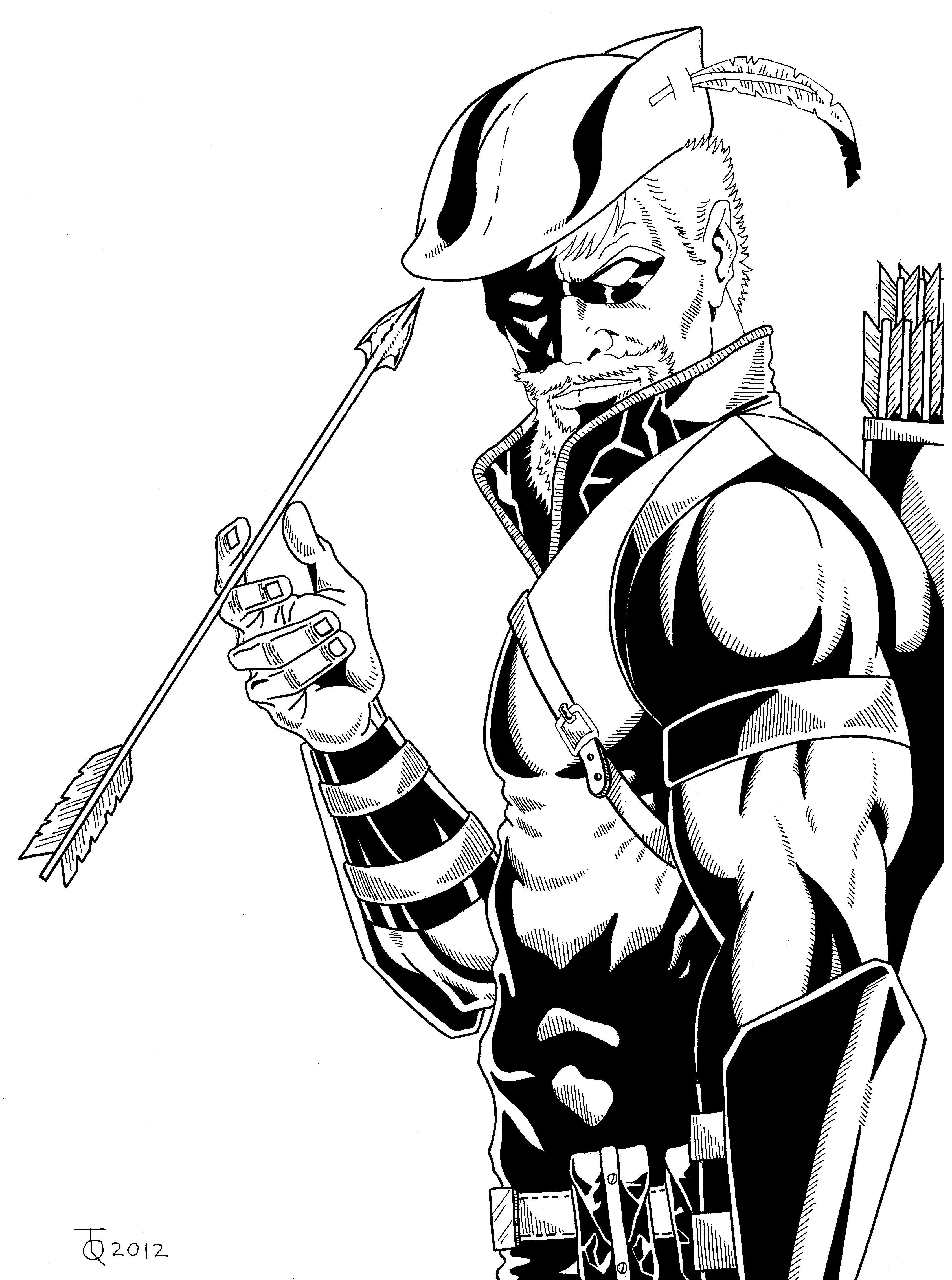Line Art Comic : Green arrow close up inked by tyndallsquest on deviantart