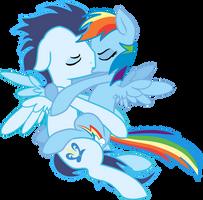 Rainbow Dash and Soarin arial snog