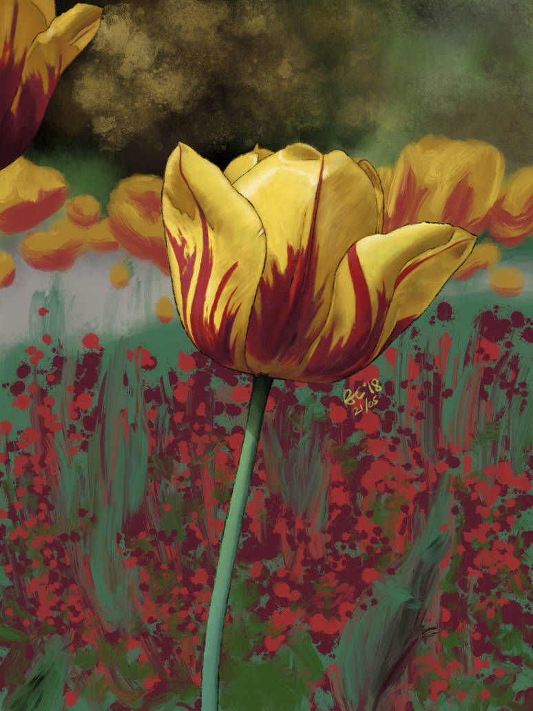 Fire Tulip - Procreate Painting