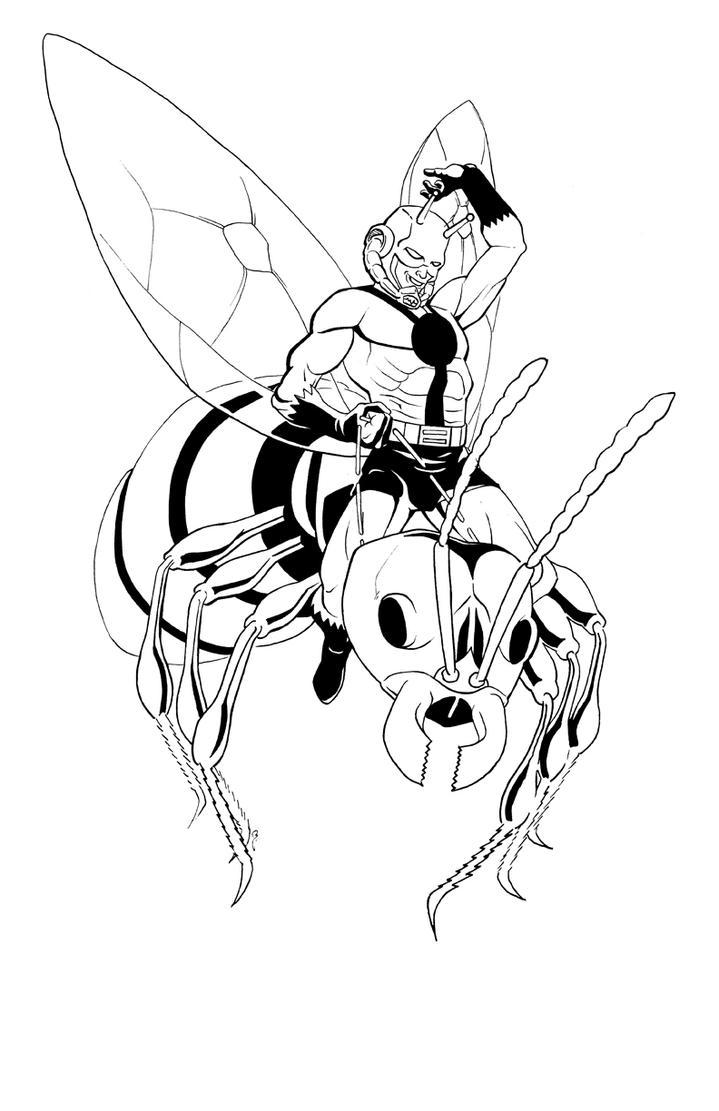 Avengers Wasp Coloring Pages : Antman inks by thelearningcurv on deviantart