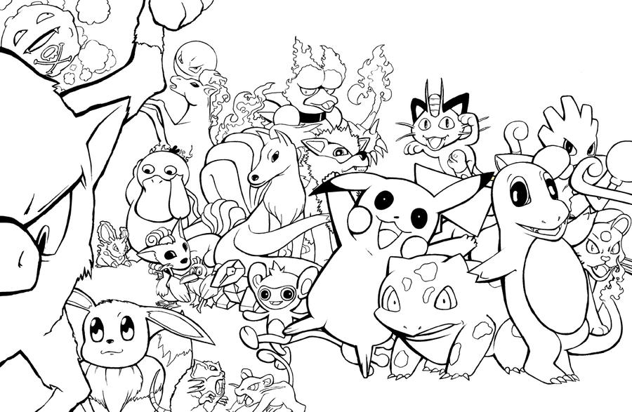pokemon group coloring pages - photo#3
