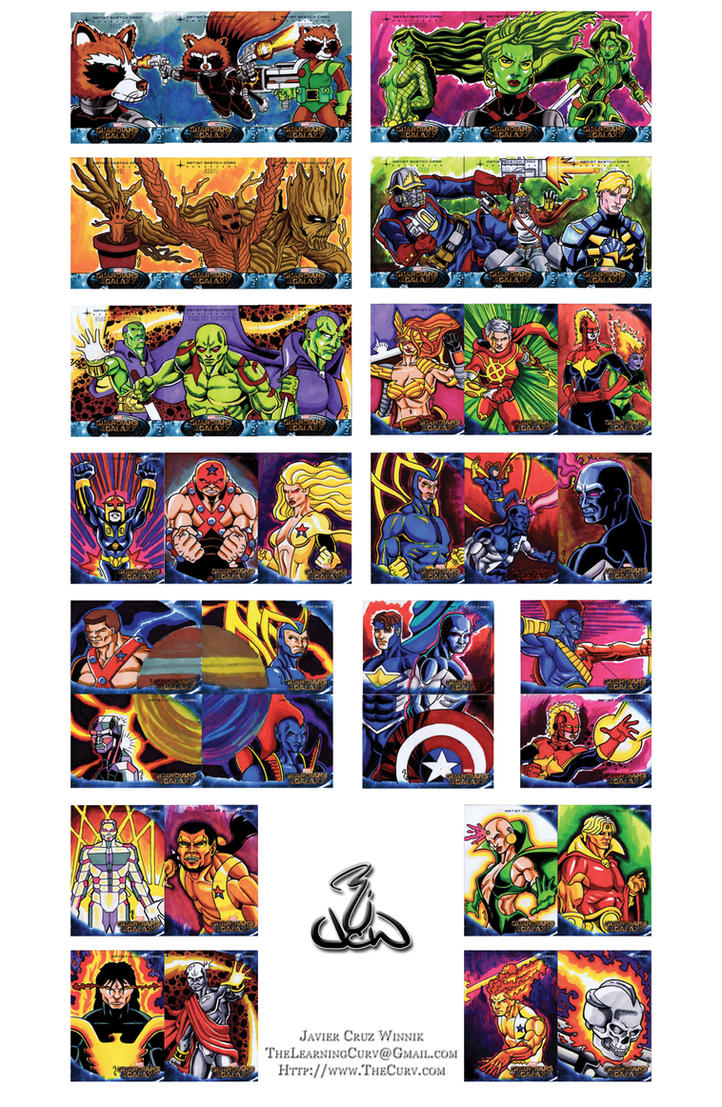 Guardians of the Galaxy Upper Deck Sketch Cards by thelearningcurv