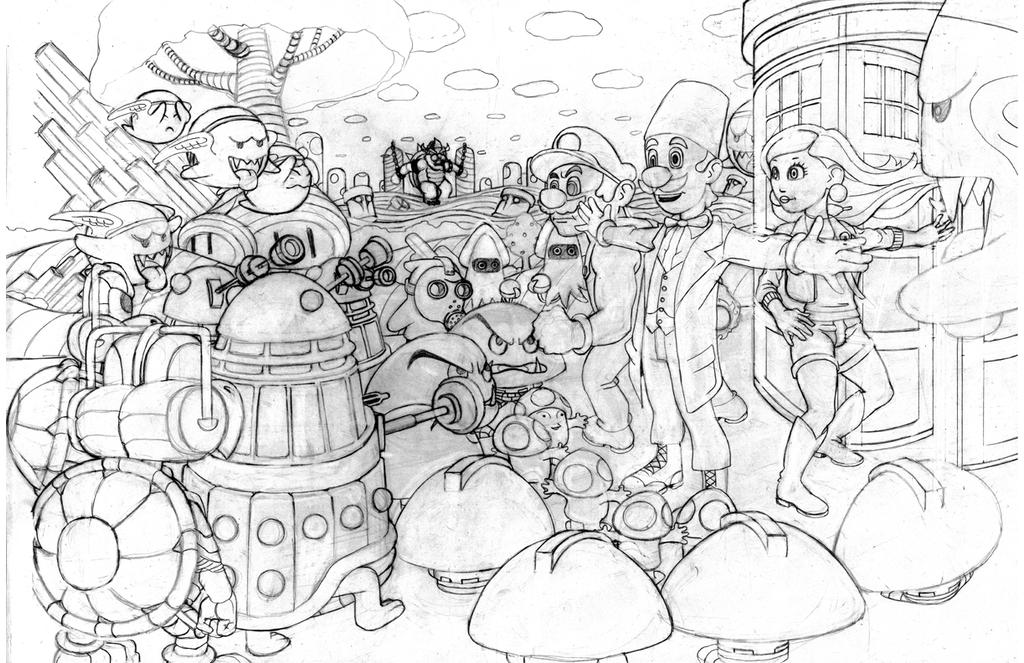 DrWhoSuperMarioPencils by thelearningcurv