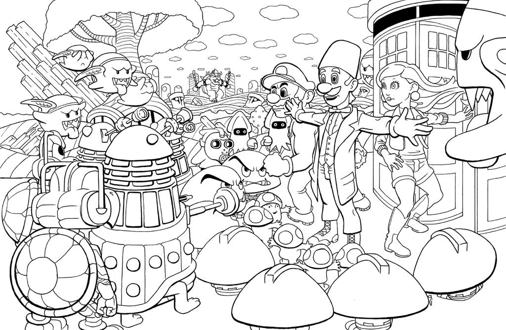 DrWhoSuperMarioInks by thelearningcurv