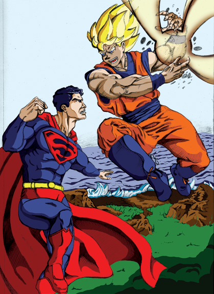 Goku vs. Superman by thelearningcurv on DeviantArt