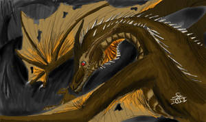 Wyvern Protecting Its Young: Wyvern
