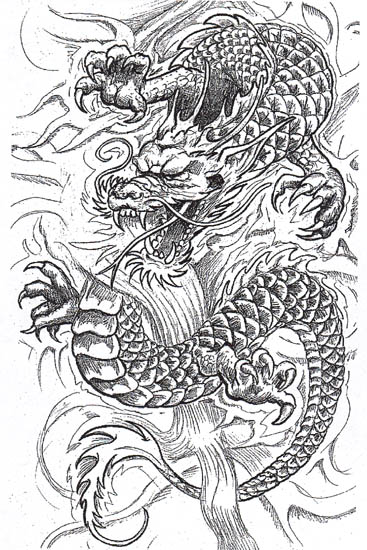 dynamic black tattoo ink water flower tattoo. Nice Dragon Tattoo Designs 9.