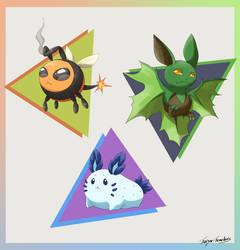 Pkmn - Fakemon Starters by Taiyo-Tenebris