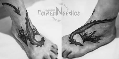 Dragon foot tattoo by akne5