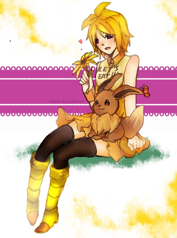 Chica x Eevee (Fnaf ginjika x Pokemon) by Akari-Kagahime