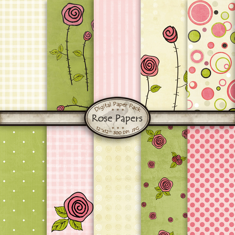 Rose Papers - Digital Papers by karavajka
