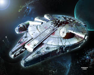millenium falcon in a galaxy far away by TargetView