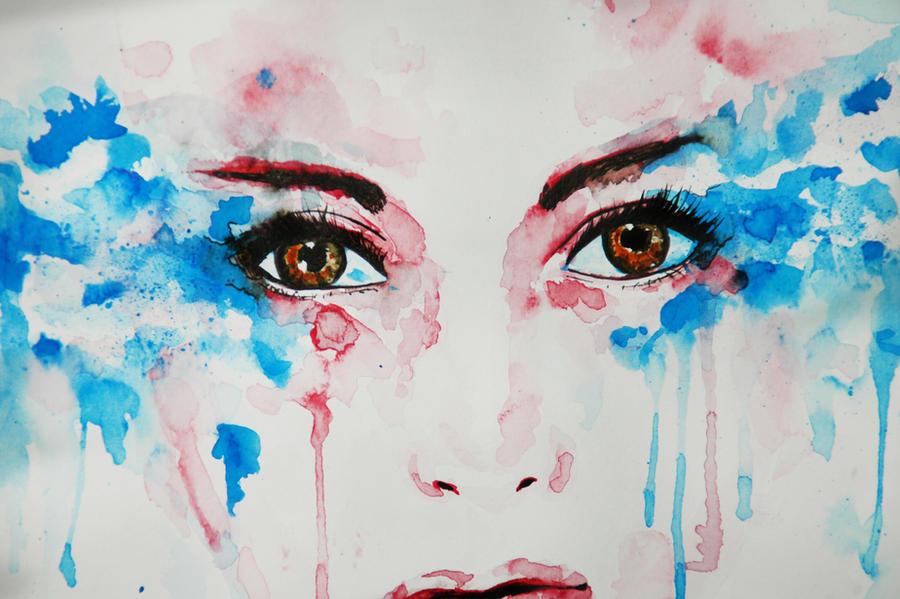 Watercolor painting - Tears CLOSEUP