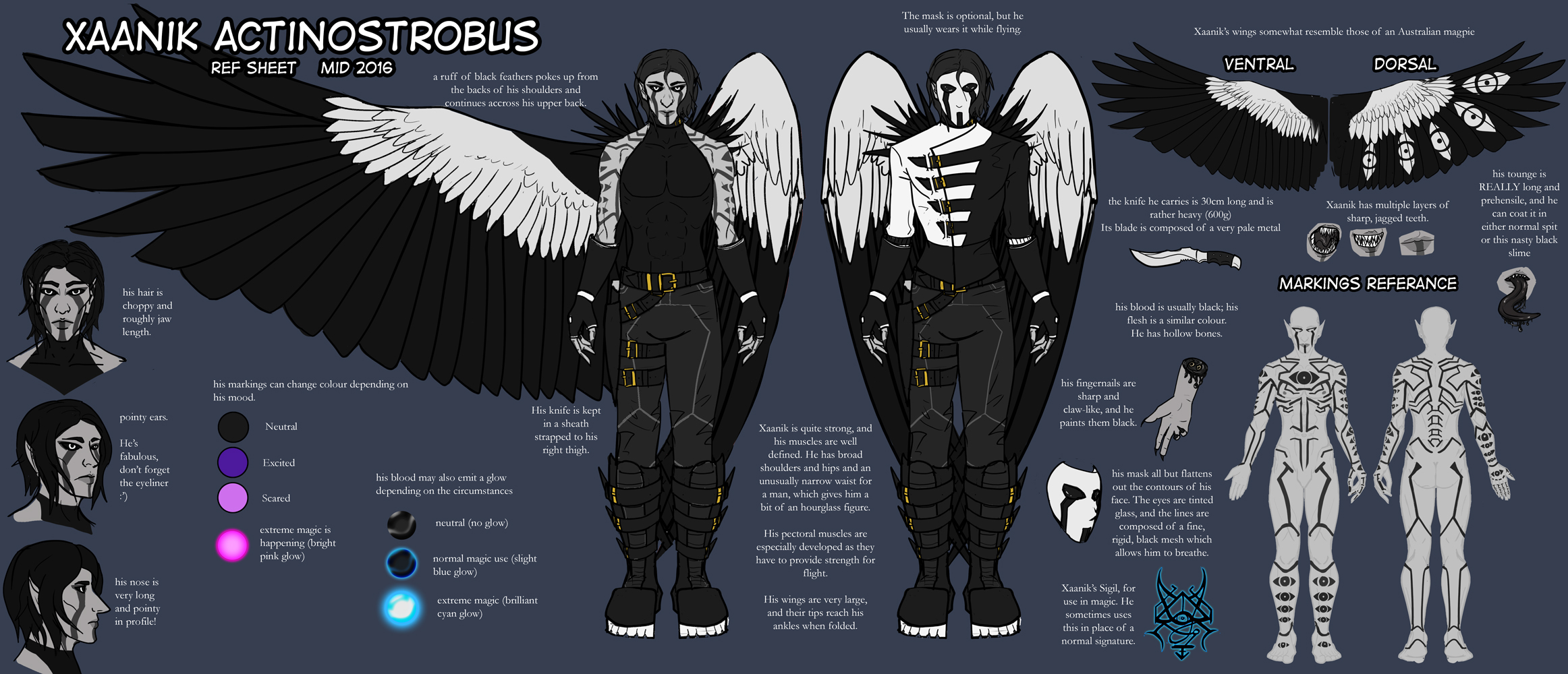 [OUTDATED] Xaanik Ref Sheet (Mid 2016) by SilverPsychopomp