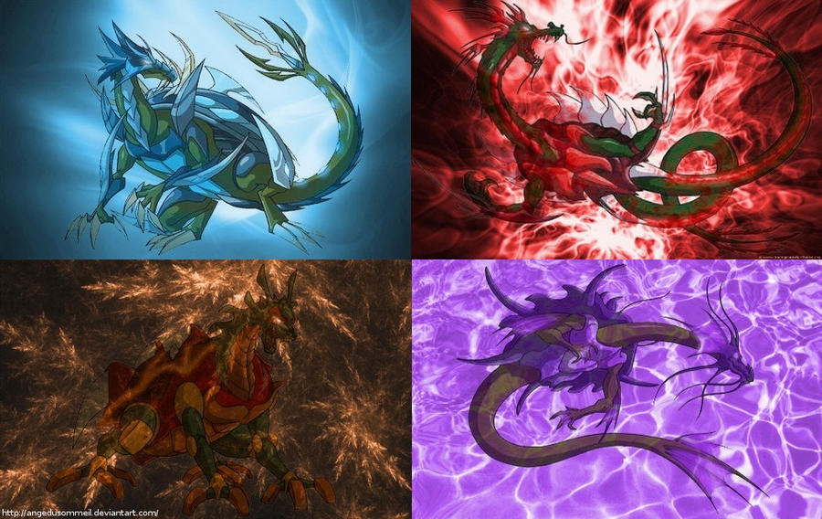 Four Elements Art : Four turtles dragons and elements by angedusommeil on