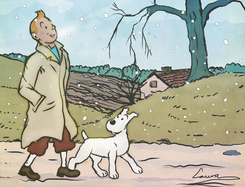 Merry Christmas from Tintin and Snowy by Loorelai