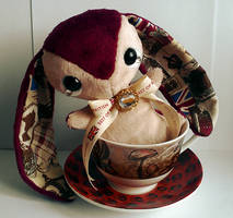 London - Handmade Teacup Bunny Plushie - For Sale! by tiny-tea-party
