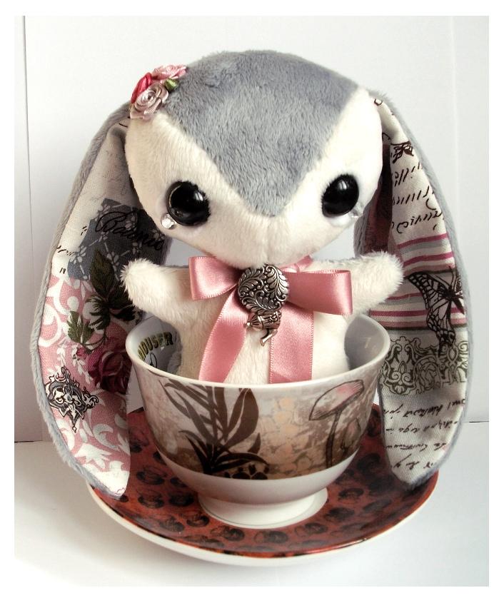 Celine - Handmade Teacup Bunny Plushie - For Sale! by tiny-tea-party