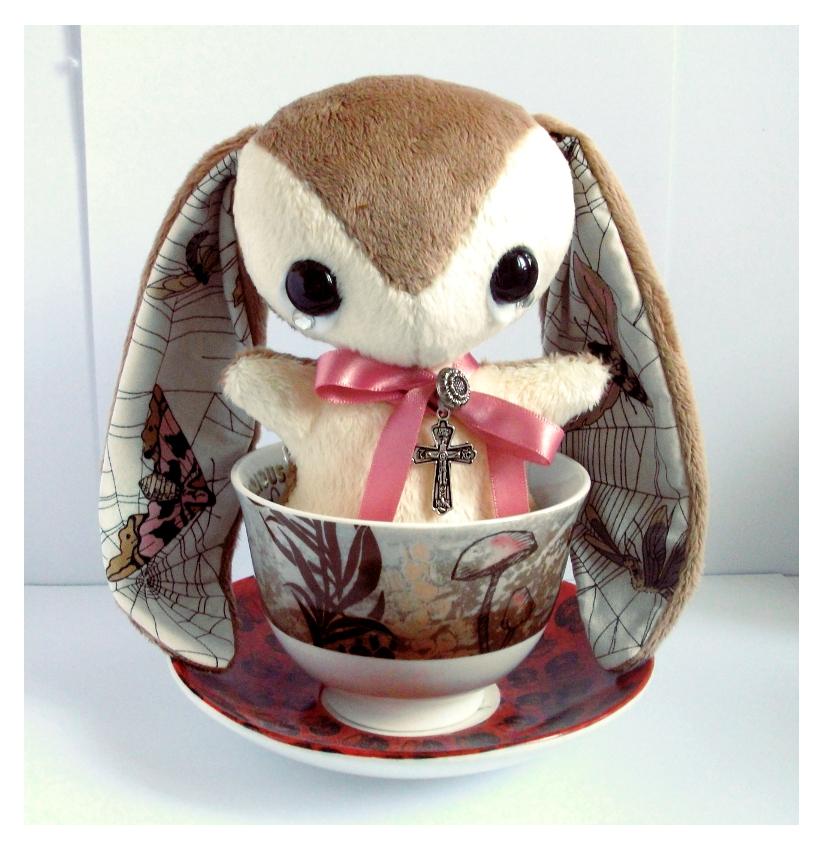 Lonnie - Handmade Teacup Bunny - sold by tiny-tea-party