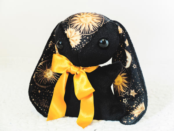 Black Celestial Teacup Bunny - for sale by tiny-tea-party