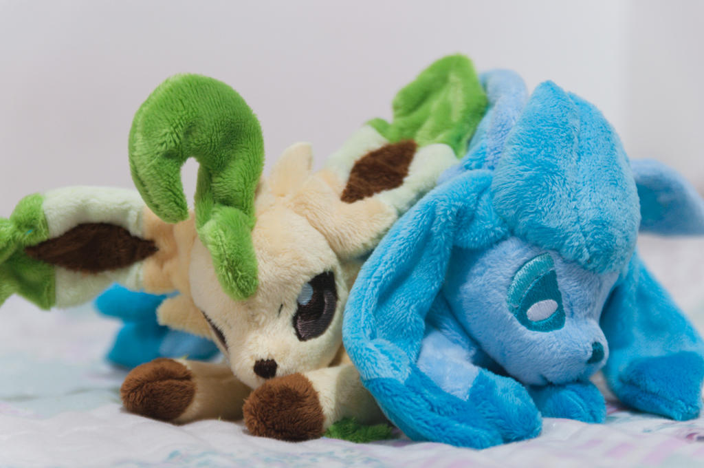 Leafeon and Glaceon Plush - Beanie Commissions. by tiny-tea-party
