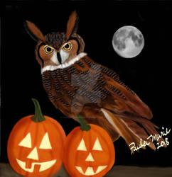 Great Horned Owl Happy Halloween by youlittlemonkey