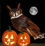 Great Horned Owl Happy Halloween by youlittlemonkey