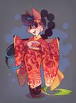 Andelina in a kimono