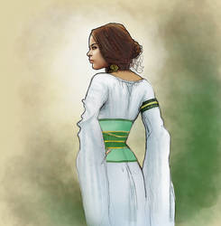 Medieval girl on white dress by hipe-0