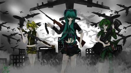 Vocaloid : Miku, Gumi, Rin by huntssdark