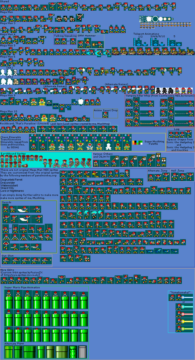 mushhog sprite sheet mega man nes by mushroomhedgehog on