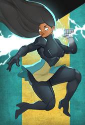 Micah Paradise wielding her lightning sword