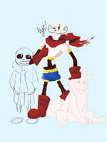 Toby and Papyrus wip by SpiderWolfArts