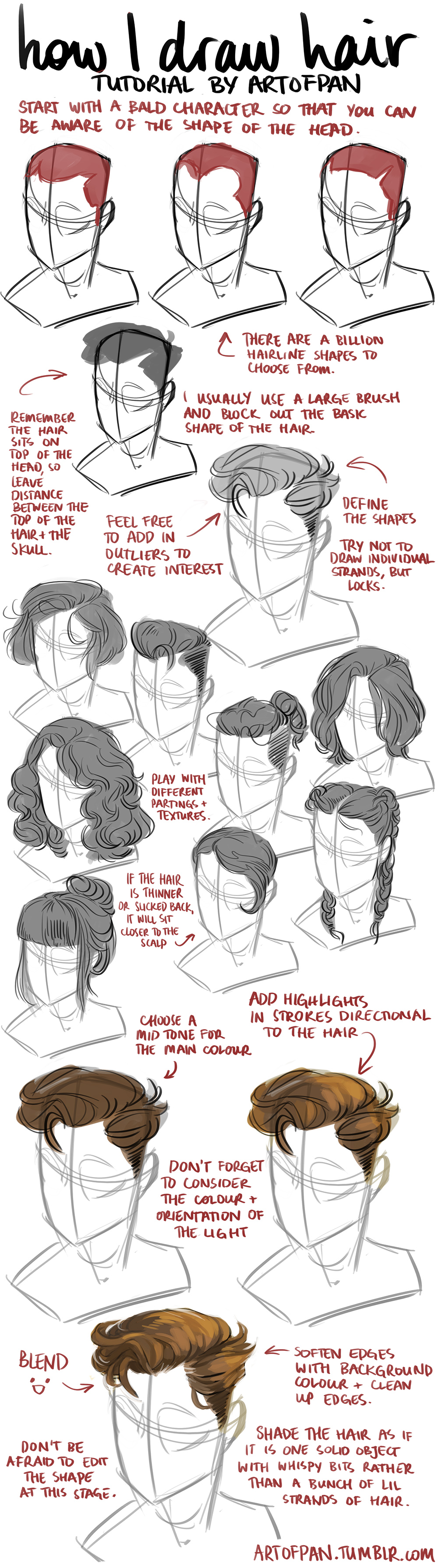 Character Design Tutorial Manga : Hair tutorial by artofpan on deviantart
