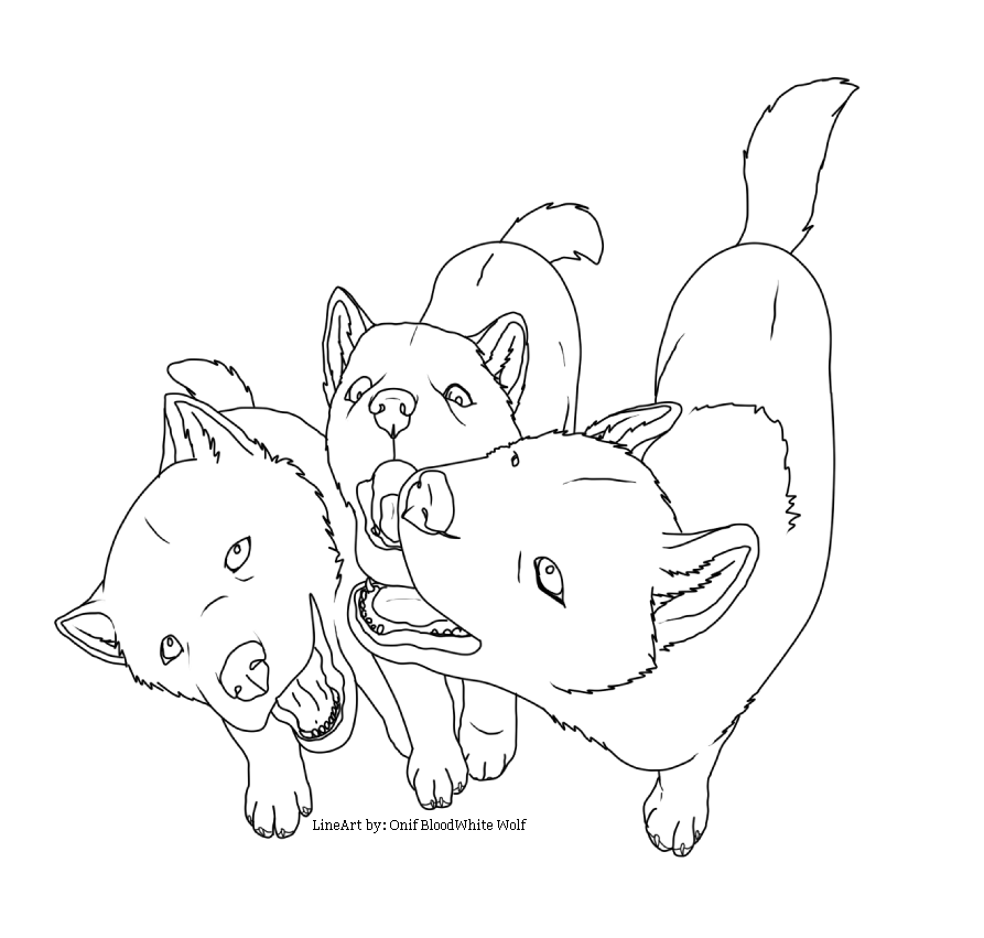 Wolf pup lineart