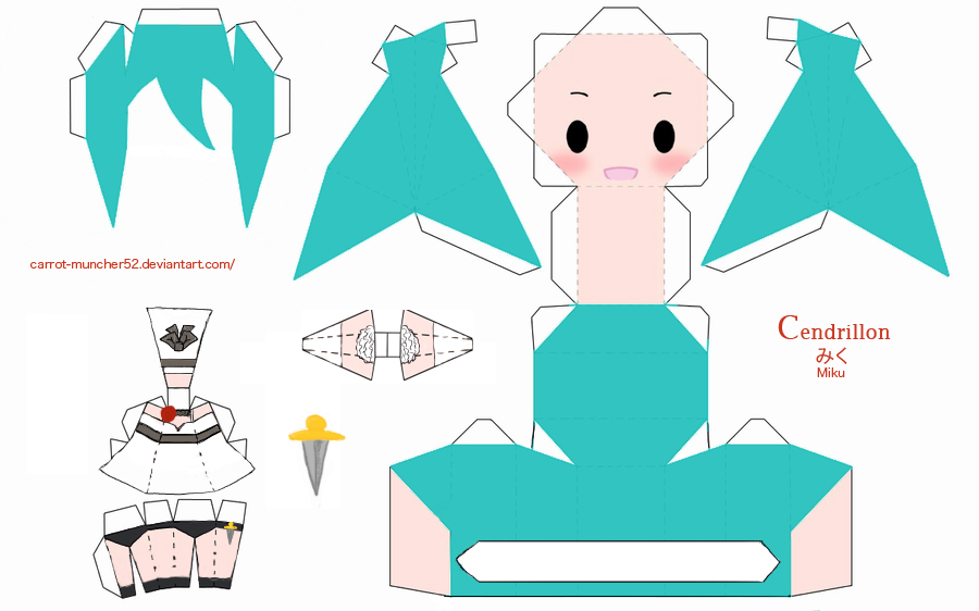 cendrillon miku papercraft by carrot-muncher52