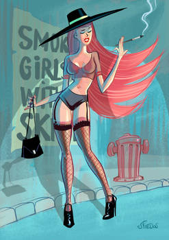 Smoking girls without skirt